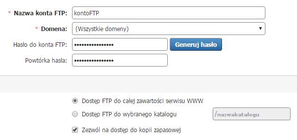 Jak zmienić parametry dla istniejącego konta FTP na serwerze?