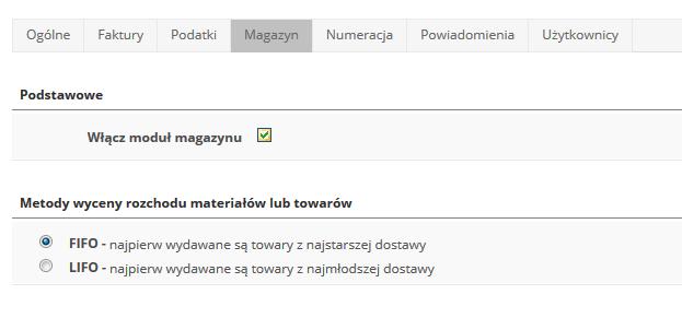 eKsięgowość - Ustawienia - Wybierz zakładkę Magazyn