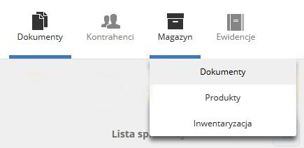 eKsięgowość - Magazyn - Wybierz podopcję Dokumenty
