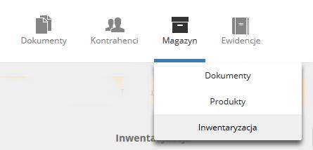 eKsięgowość - Magazyn - Kliknij podopcję menu Inwentaryzacja