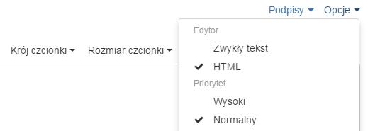 Poczta home.pl - Utwórz e-mail - Formularz - Opcje - Zaznacz edytor HTML