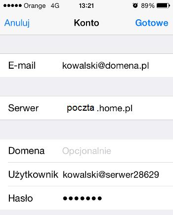 Urządzenie mobilne - Mail - Add Account - Microsoft Exchange - Podaj wymagane dane