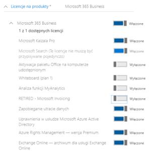 Wybór licencji nowego usera Office 365