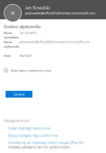Użytkownik Office 365 został dodany