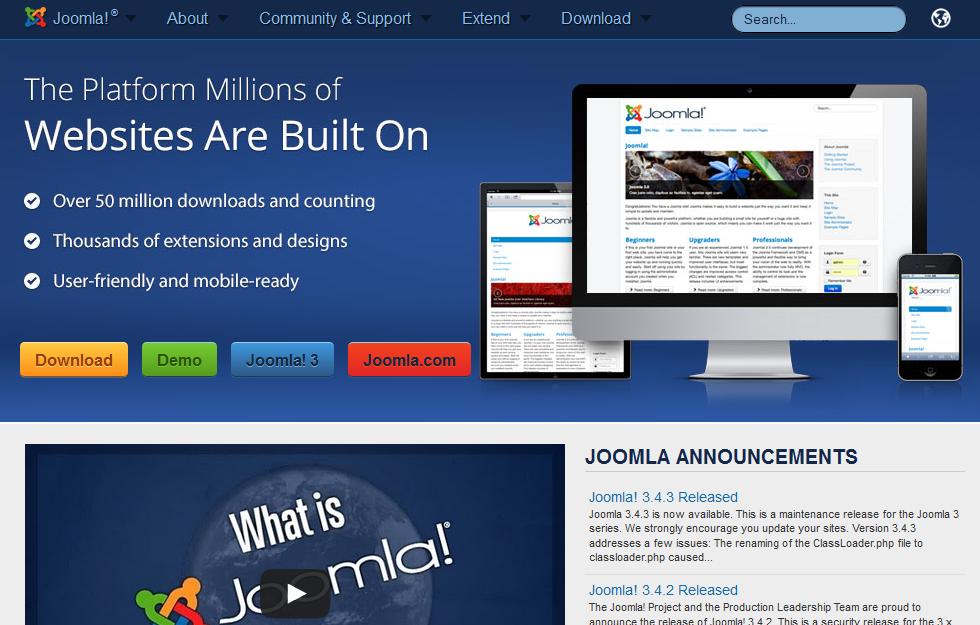 Przykładowy widok strony głównej serwisu Joomla!