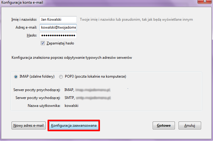 Mozilla Thunderbird - Konfiguracja konta e-mail - Kliknij przycisk Konfiguracja zaawansowana
