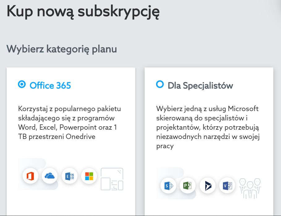 Office 365 - wybierz kategorię planu, który chcesz zamówić.