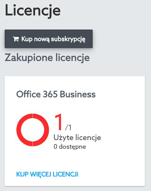 W sekcji: Licencje kliknij przycisk: Kup nową subskrypcję.
