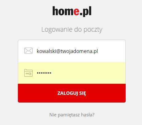 Poczta home.pl - Okno logowania - Zaloguj się