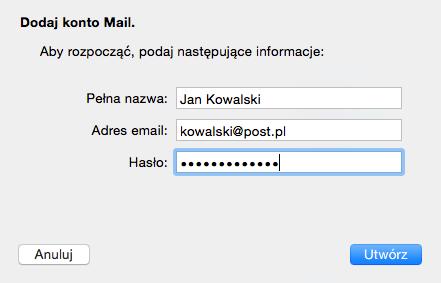 Program Mail - Mail - Konta - Lista kont pocztowych - Dodaj inne konto - Dodaj konto Mail - Wpisz hasło dla skrzynki e-mail