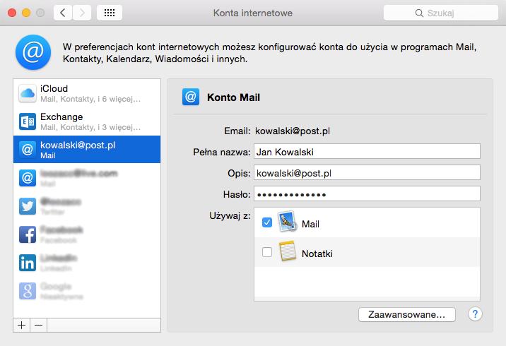 Program Mail - Mail - Konta internetowe - Konto Mail - Kliknij przycisk Zaawansowane, jeśli chcesz zmienić dodatkowe ustawienia dla serwera poczty przychodzącej