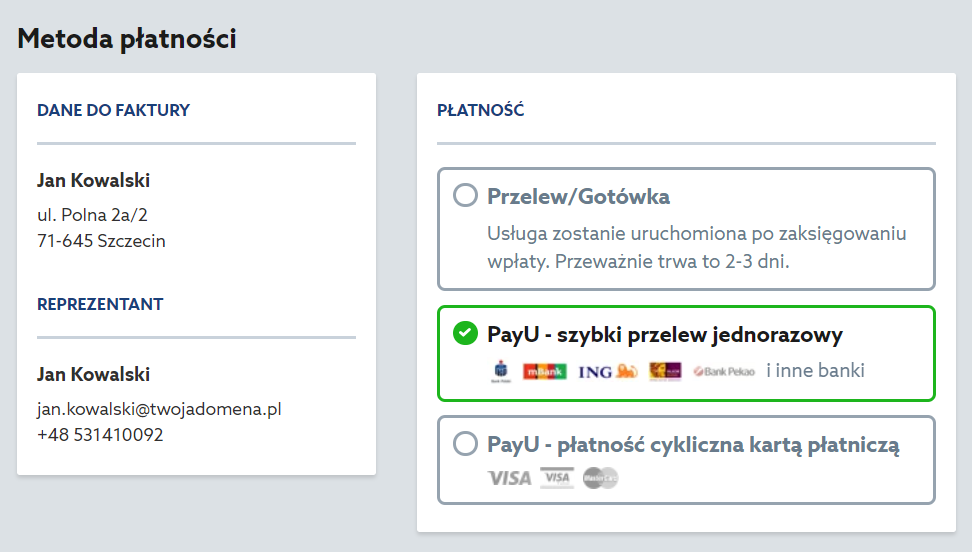 Home.pl - Domains - Search - Offer of domains available for registration - Add to basket - Order result - Customer identification screen - Select how you want to pay for your order