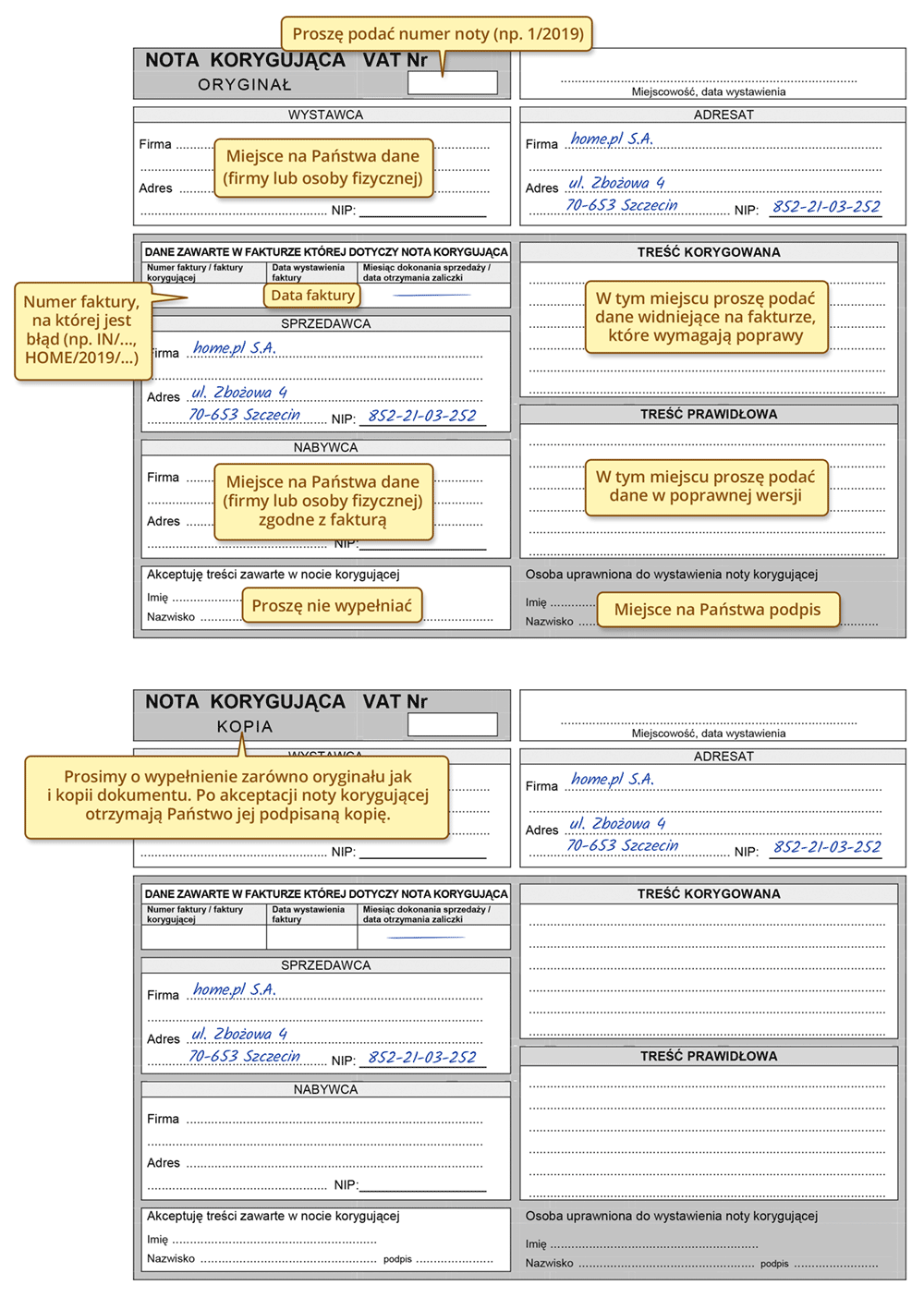 Nota korygująca – zmiana danych na FV