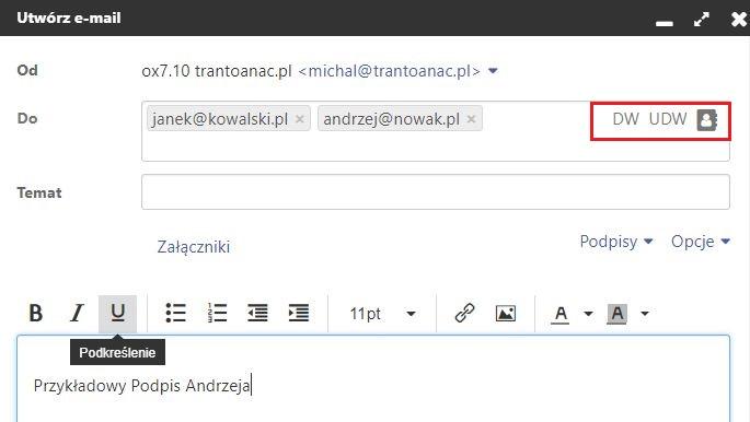 Poczta home.pl - Utwórz e-mail - Formularz - DO - Wybierz opcję DW UDW