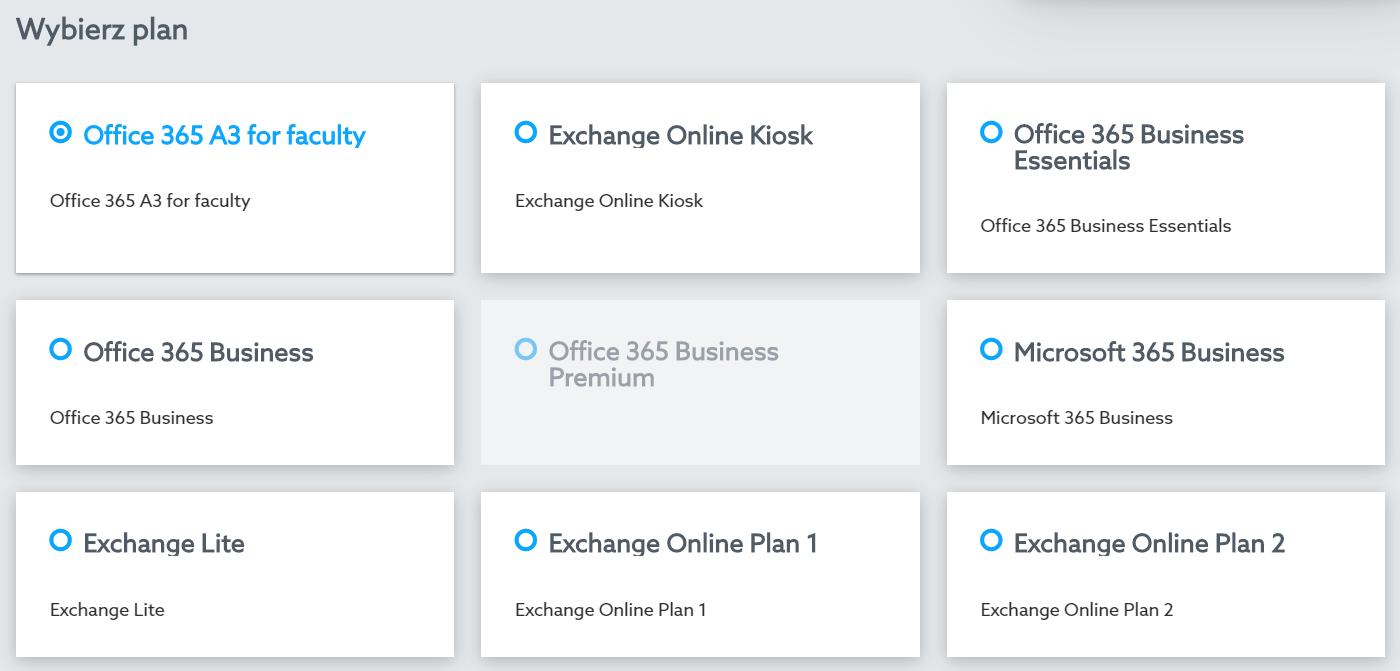 Panel klienta - Office 365 - Licencje - Kup nową licencję - Wybierz plan