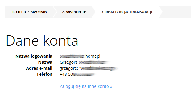 cp.market.home.pl - Sklep - Zakup dodatkowe usługi - Pakiety Office 365 - Zamów - Przykładowy widok danych kontaktowych