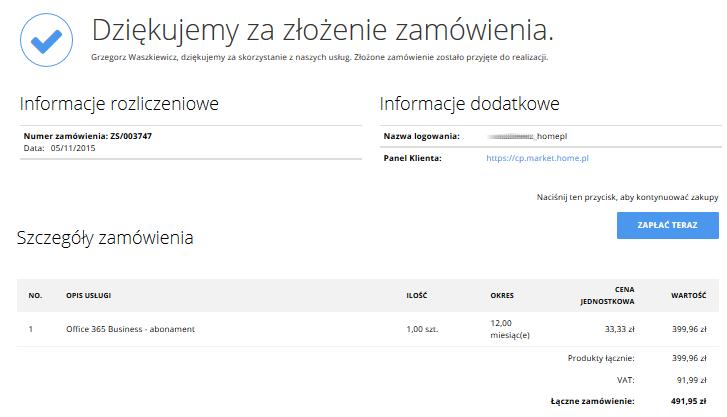 cp.market.home.pl - Sklep - Dziękujemy za złożenie zamówienia - Złożone zamówienie zostało przyjęte i zaplanowane do dalszego przetworzenia