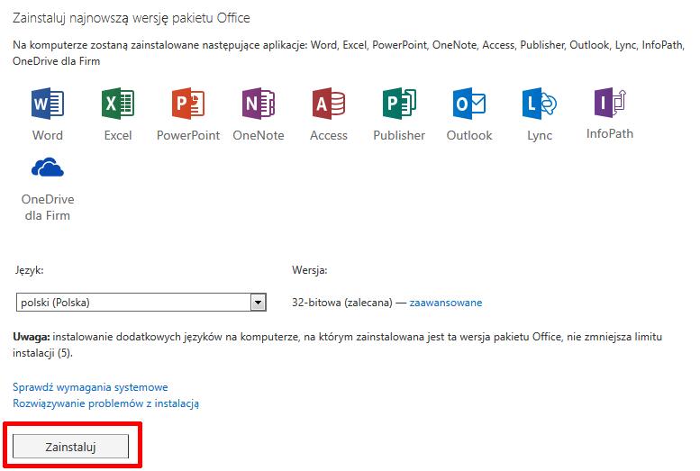 Panel Office 365 - Instalowanie pakietu Office na większej liczbie urządzeń - Zainstaluj najnowszą wersję pakietu Office - Kliknij przycisk Zainstaluj