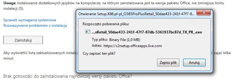 Panel Office 365 - Instalowanie pakietu Office na większej liczbie urządzeń - Zainstaluj - Rozpoczęto pobieranie pliku - Zapisz plik na dysku komputera