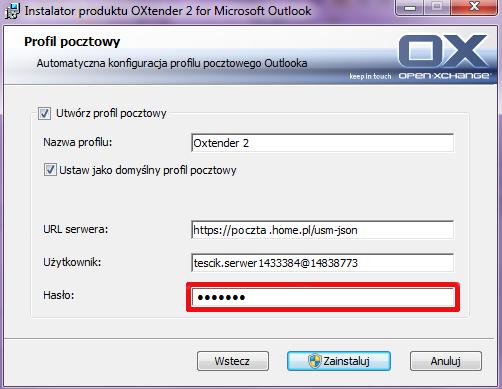 OXtender 2 - Instalator produktu OXtender 2 for Microsoft Outlook - Podaj hasło dostępu do skrzynki e-mail