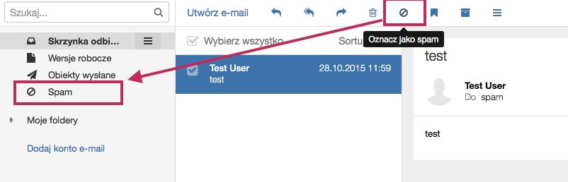 Poczta home.pl - Oznacz wybraną wiadomość e-mail jako spam