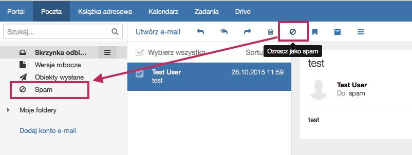 Poczta home.pl - Widok funkcji Oznacz jako spam