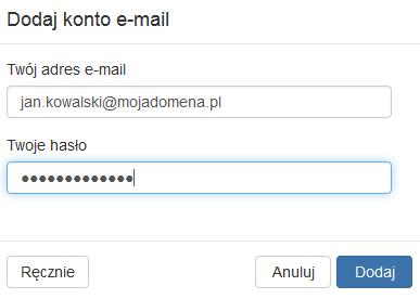 Poczta home.pl - Dodaj konto e-mail - Uzupełnij formularz i kliknij przycisk Dalej