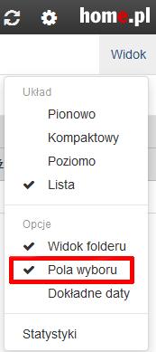 Poczta home.pl - Skrzynka odbiorcza - Lista wiadomości - Widok - Zaznacz opcję Pola wyboru