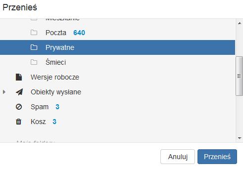 Poczta home.pl - Skrzynka odbiorcza - Lista wiadomości - Działania - Przenieś - Wskaż lokalizację docelową dla wybranych wiadomości e-mail