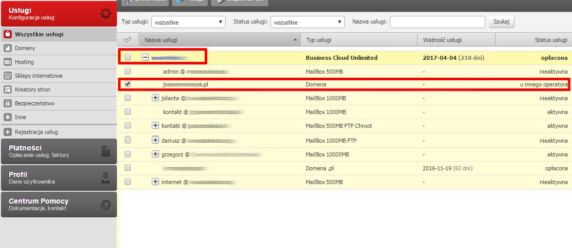 Panel klienta - Usługi - Nazwa serwera - Na rozwiniętej liście kliknij nazwę domeny, dla której chcesz zmienić ustawienia