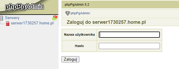 Dostęp do narzędzia phpPgAdmin w panelu klienta.pl
