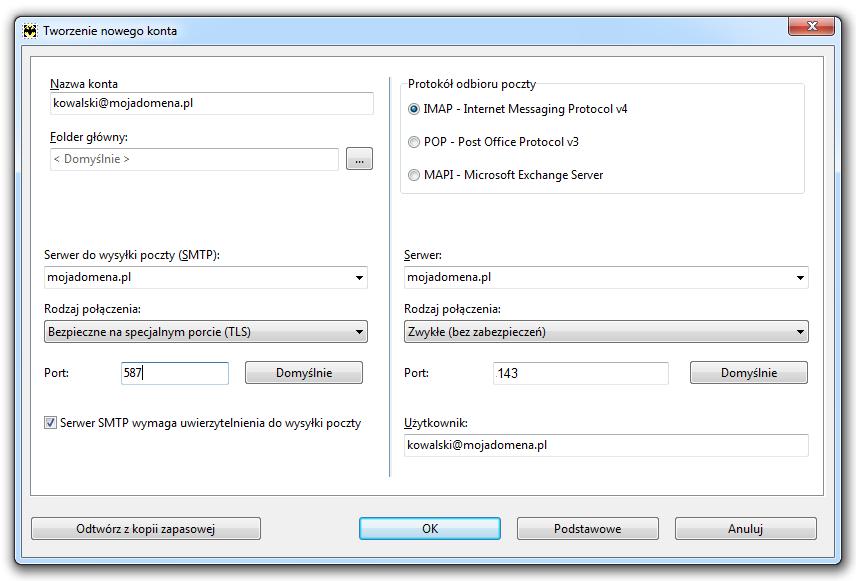 The Bat - Konto - Nowe - Tworzenie nowego konta - Wybierz protokół poczty: POP3 lub IMAP oraz podaj dane konfiguracyjne dla serwerów poczty przychodzącej i wychodzącej