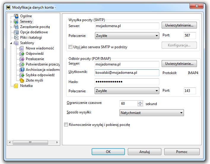 The Bat - Konto - Właściwości - Modyfikacja danych konta - Zdefiniuj numery portów dla serwerów poczty przychodzącej i wychodzącej