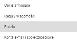 Poczta home.pl - Ustawienia - Wybierz opcje Poczta