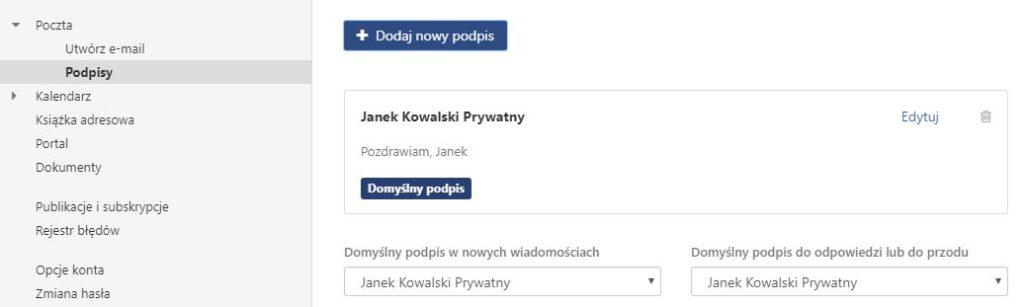 Poczta home.pl - Opcje konta - Ustawienia - Poczta - Wybierz opcję Podpisy