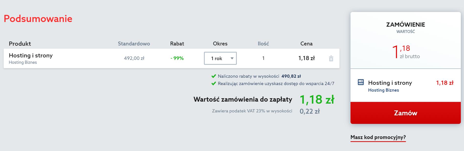 Home.pl - Menu - Hosting - Oferta - Zamówienie - Podsumowanie - Sprawdź wyświetlone informacje i jeśli jesteś gotowy do sfinalizowania zamówienia, kliknij przycisk Zamów