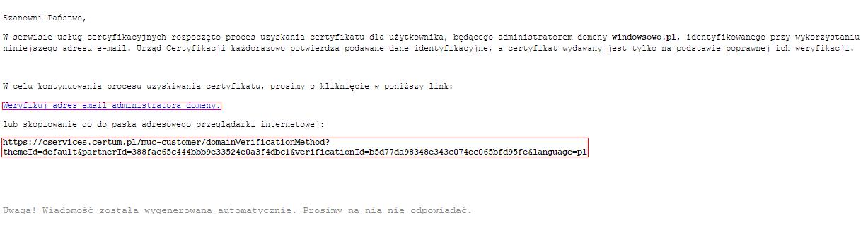 Potwierdzenie zamówienia certyfikatu SSL (stara platforma)
