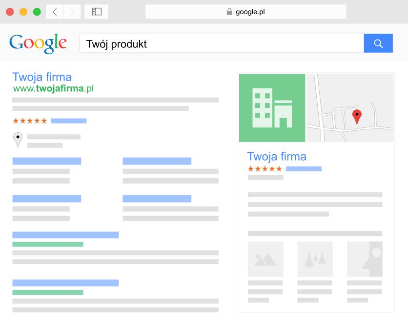 Schemat wyszukiwarki Google - Pozycjonowanie SEO - Wysoka pozycja w wynikach wyszukiwania - Przykładowy widok Twojej firmy