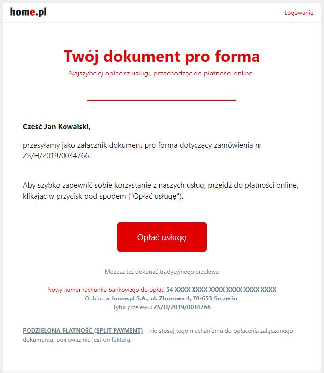 Jak wygląda wiadomość z PRO FORMĄ od home.pl?