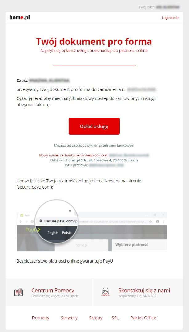 Przykładowa wiadomość e-mail, w której przesyłana jest PRO FORMA za usługi w home.pl.