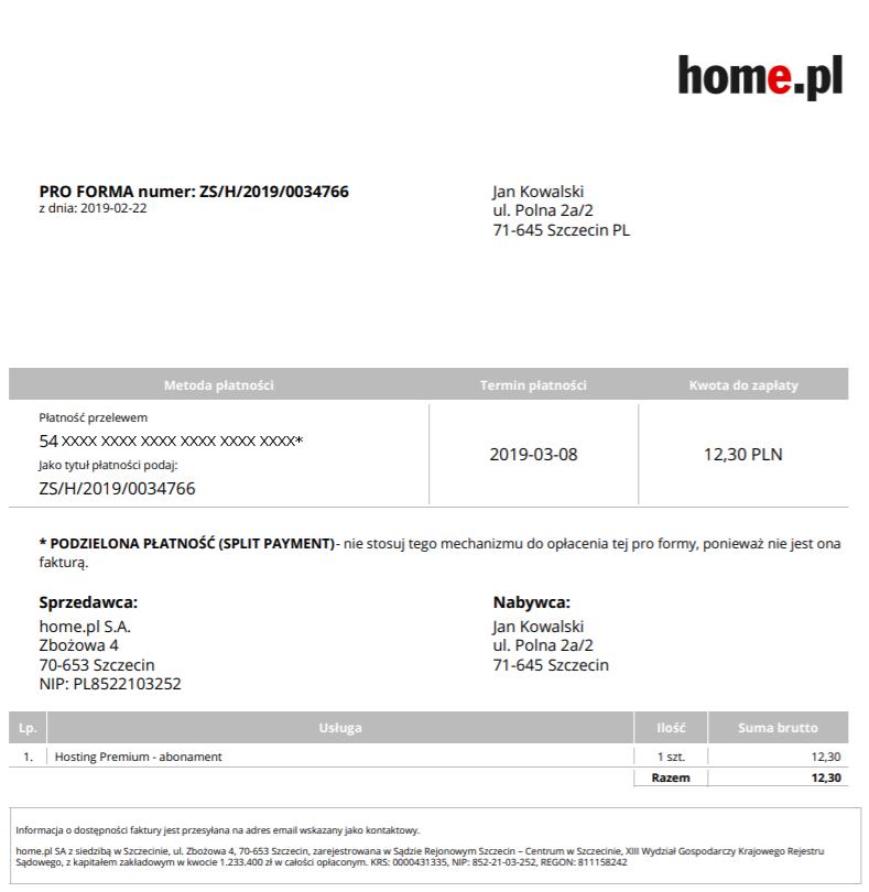 Jak wygląda przykładowa PRO FORMA wystawiona przez home.pl?