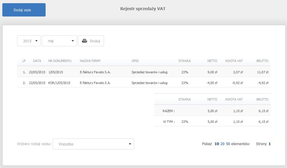 eKsięgowość - Ewidencje - Rejestr sprzedaży VAT - Wybierz rok oraz kwartał, dla którego chcesz wyświetlić ewidencje wszystkich dokumentów
