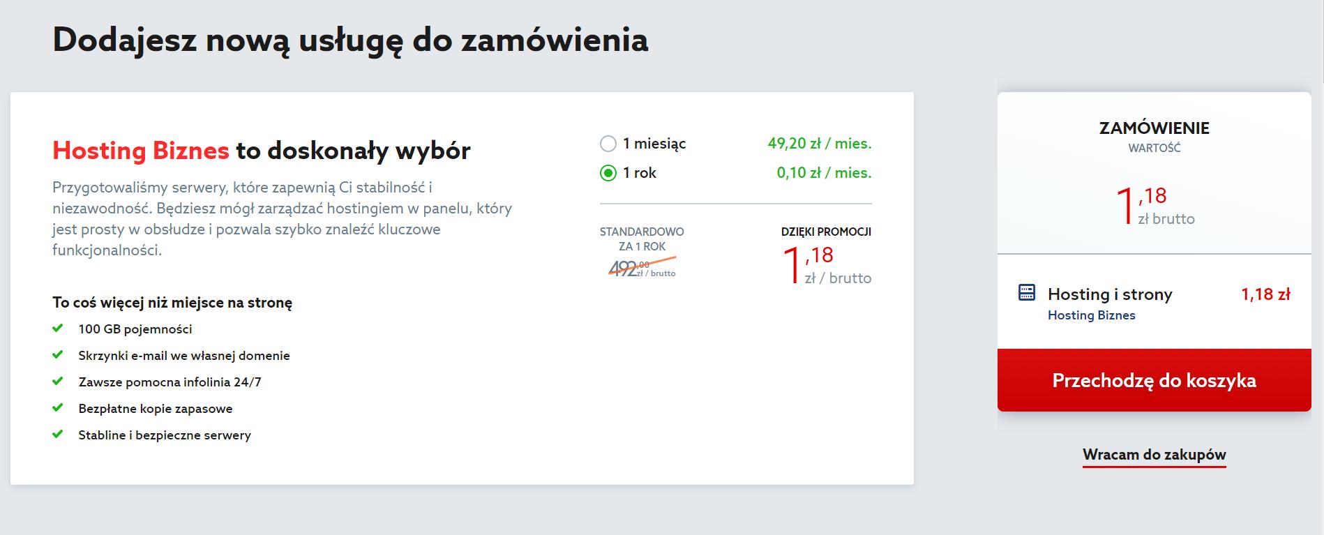 Home.pl - Menu - Hosting - Oferta - Zamówienie - Po wybraniu okresu rozliczeniowego, kliknij czerwony przycisk Przechodzę do koszyka