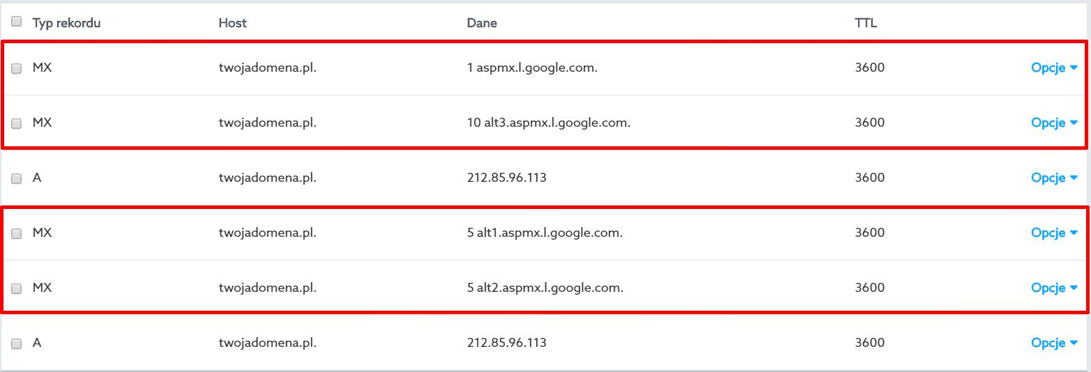 Panel Klienta - Domeny - Lista domen - Po dodaniu czterech rekordów, na liście powinny pojawić rekordy MX