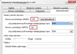 Microsoft Outlook 2010 - Plik - Informacje - Dodaj konto - Ustawienia internetowej poczty e-mail - Więcej ustawień - Zaawansowane - Zmień numery portów serwera