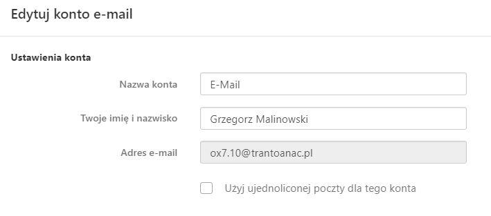 Poczta home.pl - Ustawienia - Konta - Edytuj konto e-mail - Uzupełnij dane: Twoje imię i nazwisko