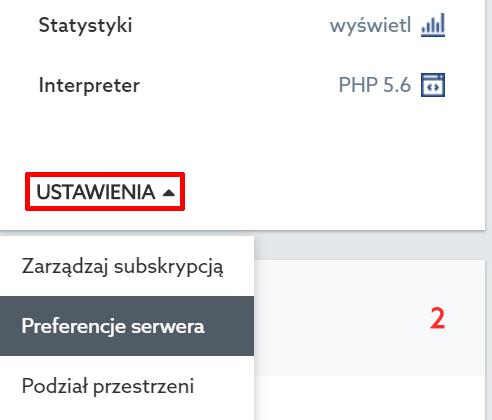 Panel Klienta - Usługi WWW - Nazwa Usługi - Serwer WWW - Znajdź opcje Ustawienia i przejdź do Preferencji serwera