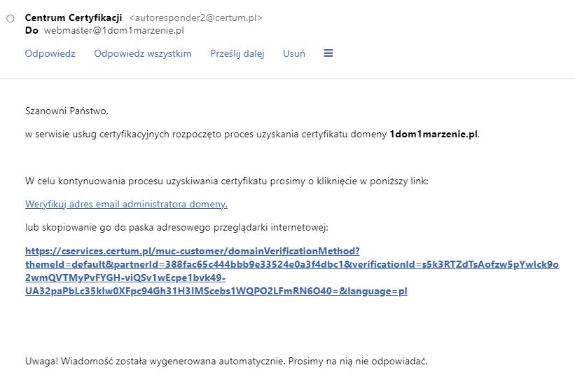 Potwierdzenie zamówienia certyfikatu SSL