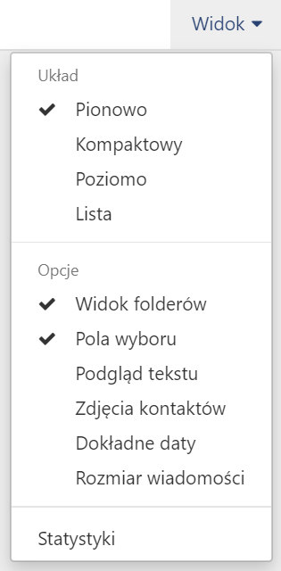 Jakie ustawienia mogę zmienić w opcji Widok w Poczcie home.pl?