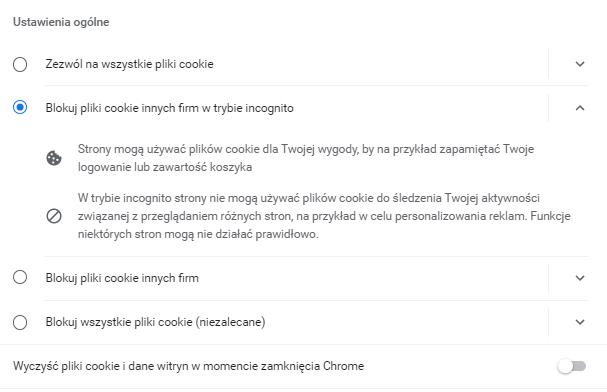 Jak włączyć lub wyłączyć obsługę plików cookies w przeglądarce?